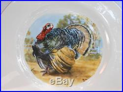 Pickard Turkey Thanksgiving Dinner Plates 4 Gold Trim Pic16 Ravens Wood Rare