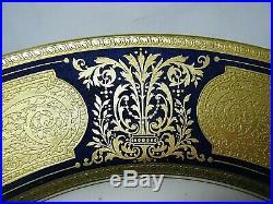 Pretty Vtg Lenox 10.5 Large Dinner Plate Encrusted Gold on Cobalt Bone China