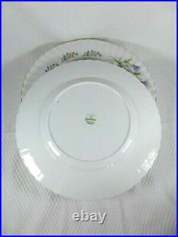 Queen Anne Lochinvar Set of 8 10.5 Dinner Plates Purple Thistle Gold Trim