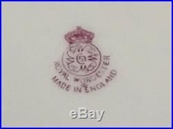 RARE 5 Pc Antique Royal Worcester Dinner Cabinet Plates Z277 Green & Gold Gilt