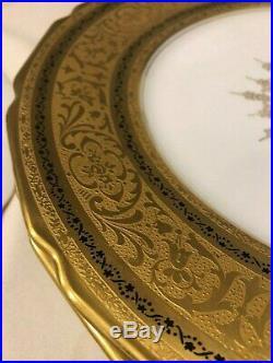 RARE ANTIQUE SET- 6 Porcelain G. Warrin T&V LIMOGES GOLD Gilt 11Plate 1892-1914