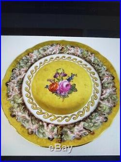 Rare Antique 19th C. Capodimonte Porcelain Gilded Neoclassical Handpainted Plate