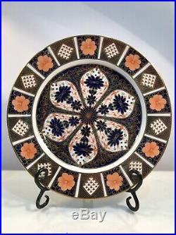 Rare Set Of 10 Royal Crown Derby Old Imari 10 3/8 Dinner Plates Circa 1921-1940