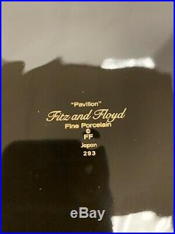 Rare Set Of 12 Fitz & Floyd Fine Porcelain Pavilion Black & Gold Dinner Plates