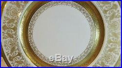 Rosedale China Dinner Plate Gold Encrusted Design Set of 4 10 7/8 Diameter
