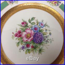 Rosenthal 5841 10 5/8 Dinner Plate Gold Encrusted Bands Floral Center