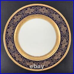 Rosenthal Ivory Gold Encrusted Jewel Tones Set of 6 Red Blue Green Dinner Plates
