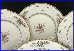 Rosenthal PASTORALE SANSSOUCI IVORY ROSE & GOLD 10-1/2 DINNER PLATES Set of 10