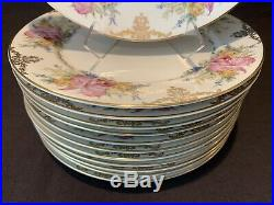 Rosenthal Winifred 824 Dinner Plates 10 3/4D Set of 12 Pink Orchids Gold Scroll