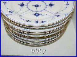 Royal Copenhagen Blue Fluted Plain with Gold edge, set of 11 dinner plates