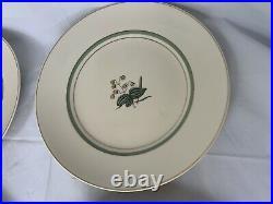 Royal Copenhagen Quaking Grass 4 Dinner Plates Gold Buds Green Leaves 9 3/4