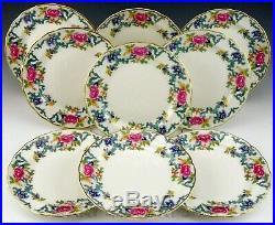 Royal Doulton England FLORADORA GOLD BOOTHS 10.5 DINNER PLATES TC 1127 Set of 9