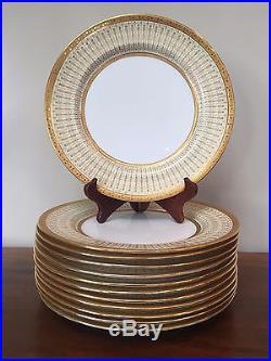 Royal Doulton RAISED GOLD ENAMEL ENCRUSTED FLORAL Dinner Plates Set of 12