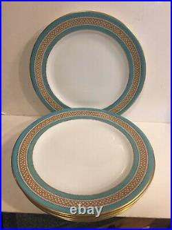 Royal Worcester Gilman Collamore Turquoise Gold Coraline Dinner Plates 6