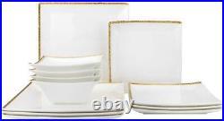 Royalty Porcelain 12-pc Square Dinner Set'Pleasure' For 4, Bone China (Gold)
