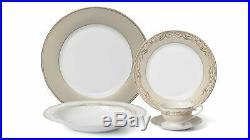 Royalty Porcelain 20-pc Floral Beige Dinner Set for 4, 24K Gold