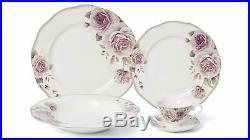 Royalty Porcelain 20-pc Pink Rose Dinner Set for 4, 24K Gold