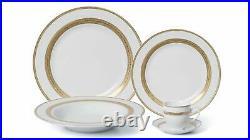 Royalty Porcelain 20-pc Queen Dinner Set for 4, 24K Gold
