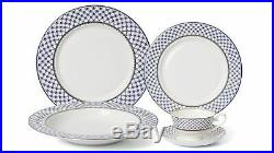 Royalty Porcelain 20-pc Villa Azure Dinner Set for 4, 24K Gold