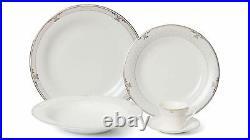 Royalty Porcelain 20-pc White Snood Dinner Set for 4, 24K Gold