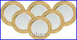 Royalty Porcelain 6-pc Gold Rim Luxury Set of Plates for 6 (Dinner 10.5)
