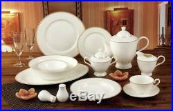 Royalty Porcelain Elegant Gold Ornament 57-pc Dinnerware Set for 8, Bone China