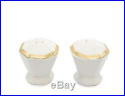 Royalty Porcelain Gold Geometry 57-pc Banquet Dinnerware Set for 8, Bone China
