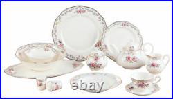 Royalty Porcelain Romantic Bloom 57-pc Dinnerware Set for 8, Bone China