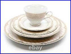 Royalty Porcelain Vintage Antique 20-pc Dinnerware Set'Sandra Pink Gold