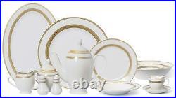Royalty Porcelain Vintage Antique Gold 57pc Dinnerware Set'Amelia', Bone China