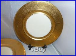 SET 8 Gold Encrusted DINNER CHARGER PLATES 10 7/8 BOHEMIA CZECHOSLOVAKIA
