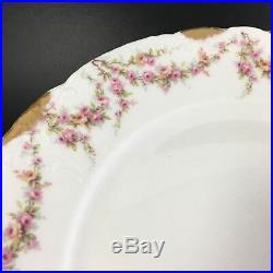 SET 8 Haviland Limoges Varenne 10 Dinner Plate Swag Pink Roses Gold Trim