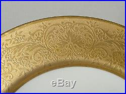 SET OF SIX Elegant Gold Encrusted Firkenhammer Czechoslovakia DINNER PLATES