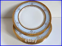 SUPERB SET of 6 VINTAGE FRENCH LIMOGES DINNER PLATES w. GOLD 10 (set 1)