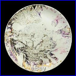 Sascha Brastoff 4 Vint Surf Ballet Marbleized Pink & Gold Glazed Dinner Plates