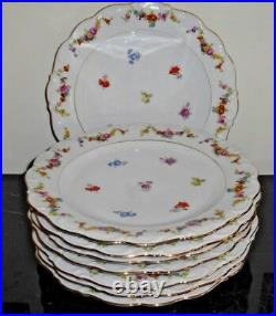 Schumann Bavaria Germany Floral Design and Gold Trim 10.5 Dinner Plates Set of 8