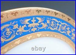 Set 12 Antique Limoges Blue & Raised Gold Birds 11 Dinner Plates Guerin French