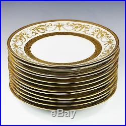 Set 12 Dinner Plates Vintage Bohemian Premium porcelain De Luxe gold encrusted