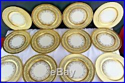 Set 12 HEINRICH & CO Selb Edgerton Gold Encrusted Porcelain Dinner Service Plate