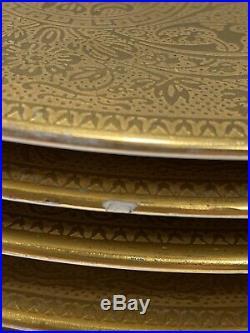 Set 12 Hutschenreuther Bavaria Porcelain Service Dinner Plates Encrusted Gold