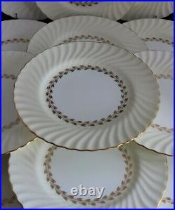 Set 12 Minton Bone China Gold Cheviot S534 Dinner Plates