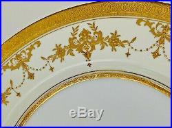 Set 12 Minton Riverton Raised Gold Encrusted Dinner Plates 10 5/8