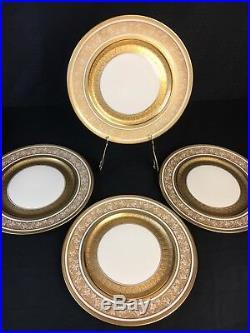 Set 4 Antique Heinrich & Co. Selb Bavaria Gold Gilt Encrusted Dinner Plates 11