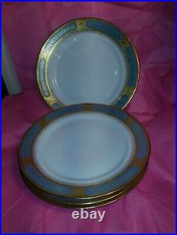 Set 4 Limoges Blue & Gold 11 Dinner Plates French France Palais Royal Sinclair