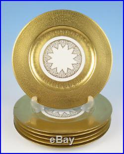 Set 6 Heavy Gold Encrusted Etched Limoges Porcelain Dinner Service Plate French