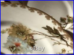 Set 8 Fine Antique Limoges Gold Hand Paint Assorted Autumn Abstract Dinner Plate