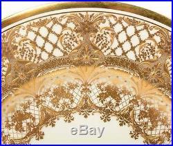 Set Of 11 Antique Royal Doulton Raised Gold Gilt White 8.75 Salad Plates Dinner