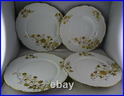 Set Of 12 Limoges Antique Porcelain Raised Gold Floral White 8.5 Plates