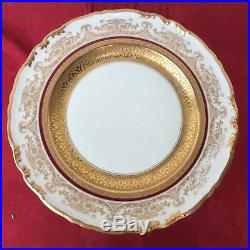 Set Of 12 Vintage Epiag Czech Cabinet Gold Rim Encrusted Dinner Plates