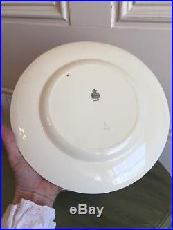 Set Of 3 Minton Porcelain Dinner Plates M19 Pattern BLUE & GOLD 1940 VTG